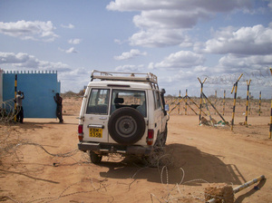 A vehicle from the 2012 attack on Norwegian Refugee Council staff in Dadaab, Kenya. Four aid workers were kidnapped by Somali militants.