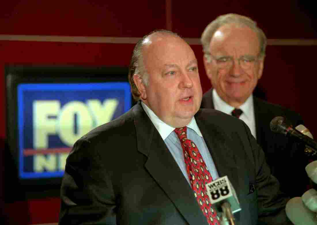 Roger Ailes, left, speaks at a news conference with Rupert Murdoch in Jan. 1996 after it was announced Ailes would be chairman and CEO of Fox News.