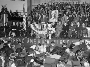 A crowd of over 4,000 people filled the Gospel Tabernacle in Fort Wayne, Ind., to hear Col. Charles Lindbergh address a rally of the America First Committee on October 3, 1941.