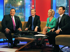 New Jersey Gov. Chris Christie appears on <em>Fox & Friends</em> with co-anchors Steve Doocy, Gretchen Carlson and Brian Kilmeade in 2011. Carlson filed suit earlier this month alleging that Ailes had demoted her to an early afternoon show several years ago, cutting her pay, as a result of her complaints of sexism on the set.