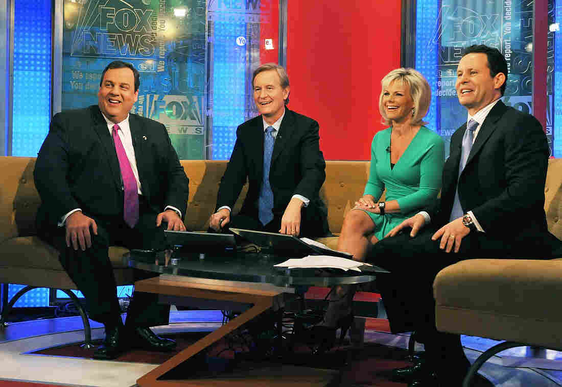 New Jersey Gov. Chris Christie appears on Fox & Friends with co-anchors Steve Doocy, Gretchen Carlson and Brian Kilmeade in 2011. Carlson filed suit earlier this month alleging that Ailes had demoted her to an early afternoon show several years ago, cutting her pay, as a result of her complaints of sexism on the set.