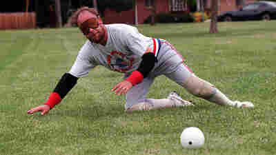 Beep baseball player Kerry Kuck practices at Ruby Hill Park in Denver, Colo.