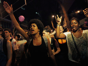 Activists and supporters march on International Women's Day on March 8 in Rio de Janeiro, Brazil. Marchers called for protection from male violence in a country with high rates of murder and assaults of women.