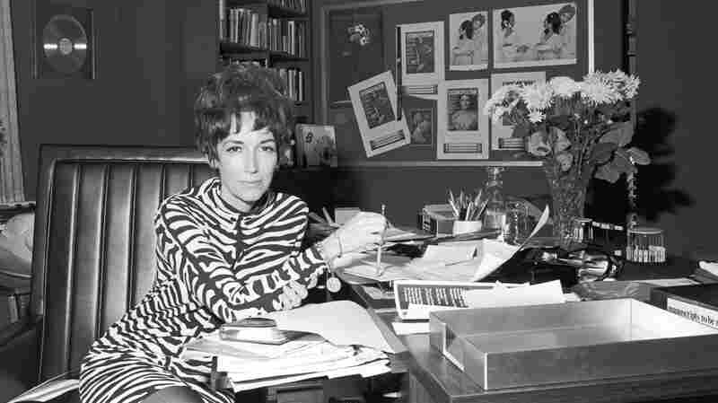 """Helen Gurley Brown in her office at Cosmopolitan magazine in the 1960s .The legendary editor, subject of two new biographies, knew sex sells – and food brings in ad money. She cannily combined them with features like """"After Bed, What? (a light snack for an encore)."""""""