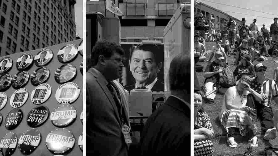 (Left) Pro-Donald Trump buttons for sale on the street in Cleveland. (Center) A large screen truck with a photo of President Ronald Reagan can be seen through a crowd as it is stopped at a light. (Right) Supporters listen to speakers at a pro-Trump rally on Tuesday.