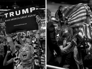 (Left) A woman with the California delegation cheers for Trump during the convention. (Right) A protester with Code Pink demonstrates during the convention on Tuesday and is later escorted outside the hall.