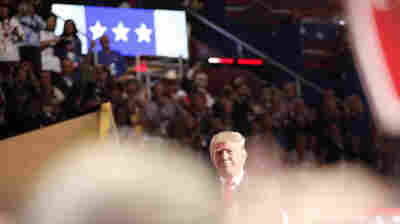 GOP presidential nominee Donald Trump speaking during the final night of the Republican National Convention in Cleveland.