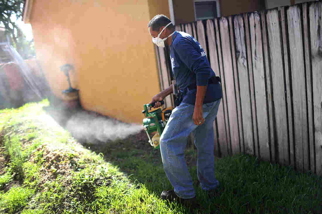 Larry Smart, a Miami-Dade County mosquito control inspector, uses a fogger to spray pesticide to kill mosquitos in an effort to stop a possible zika outbreak in Miami.