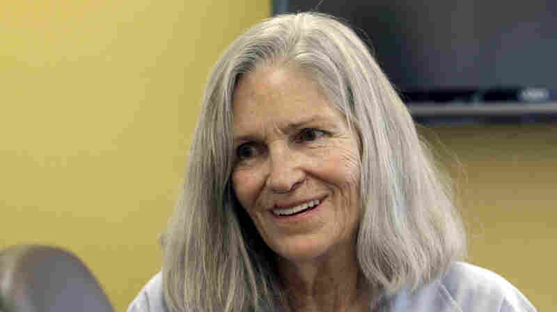 Former Charles Manson follower Leslie Van Houten confers with her attorney, Rich Pfeiffer, not shown, during a break from her hearing before the California Board of Parole Hearings in April in Chino, Calif.