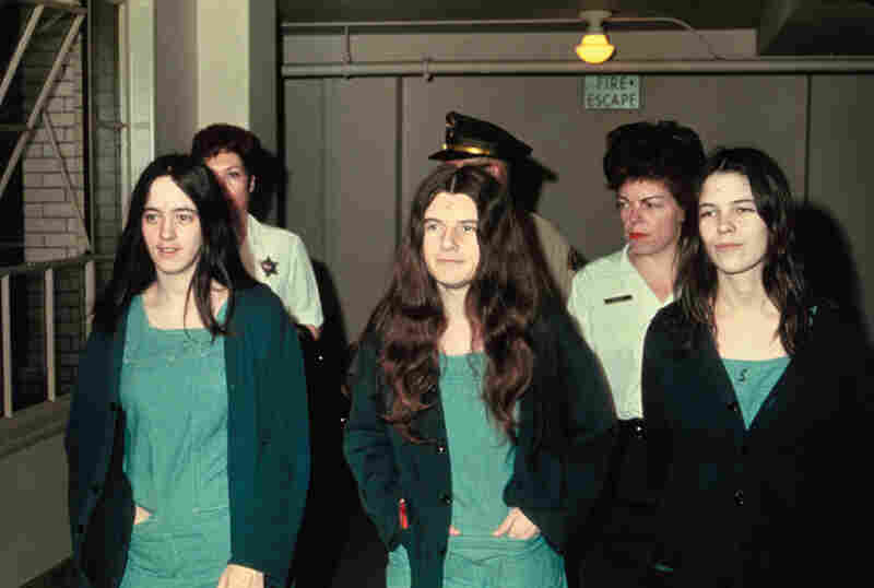 "Manson ""family members"" Susan Atkins, Patricia Krenwinkle, and Leslie van Houton (from left to right)."