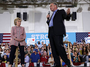 Sen. Tim Kaine, D-Va., campaigned last week in Northern Virginia with Hillary Clinton before she chose him as her vice presidential running mate.