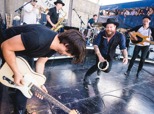 Nathaniel Rateliff & the Night Sweats, with Matthew Logan Vasquez, perform at the 2016 Newport Folk Festival.