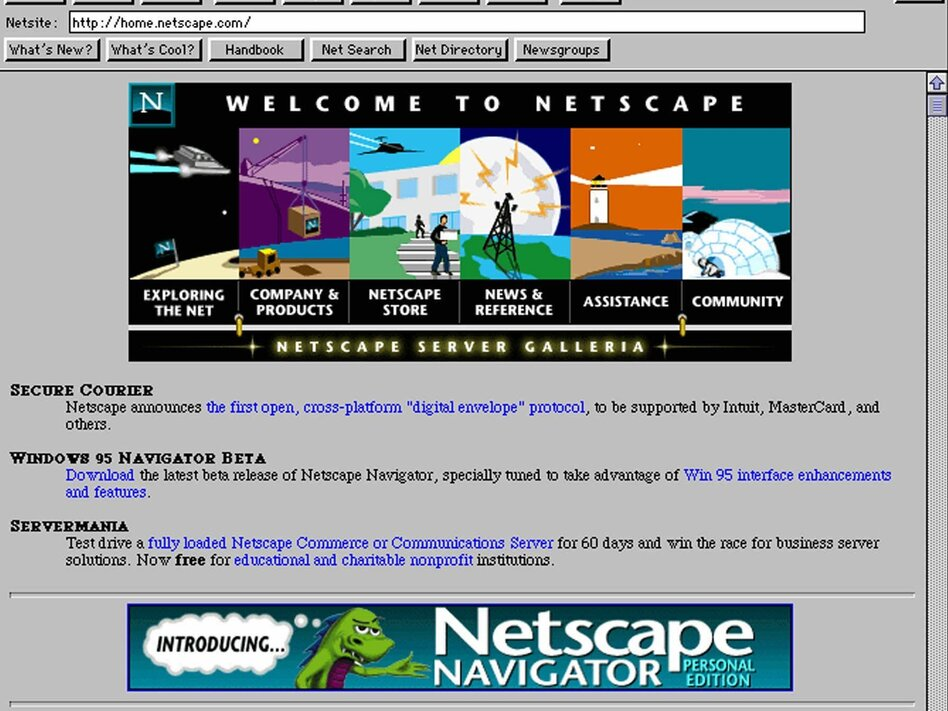 """The original caption of this photo read: """"The Netscape Navigator home page on the Internet's World Wide Web is seen Wednesday, Aug. 9, 1995."""" (AP)"""