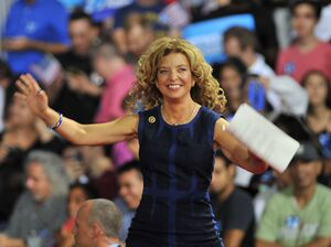 Soon-to-be-former Democratic National Committee Chair Debbie Wasserman Schultz of Florida arrives on stage during a campaign rally for Hillary Clinton and Tim Kaine in Miami, Florida, July 23, 2016.