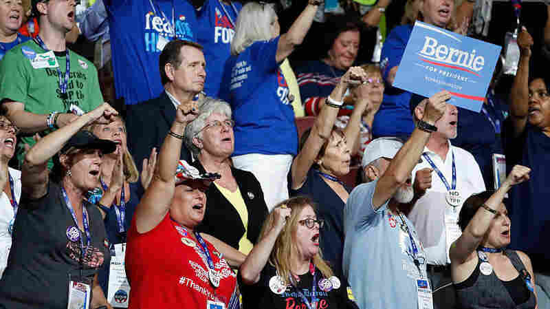 Bernie Sanders supporters chanted his name and booed at mentions of Hillary Clinton during the first day of the Democratic National Convention on July 25 in Philadelphia.