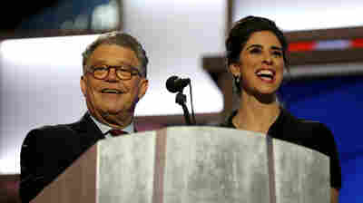 Comedian Sarah Silverman and Sen. Al Franken take the stage during the first day of the Democratic National Convention.