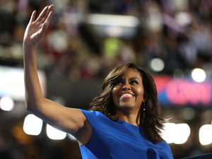 First lady Michelle Obama acknowledges the crowd before speaking during the Democratic National Convention in Philadelphia on Monday.