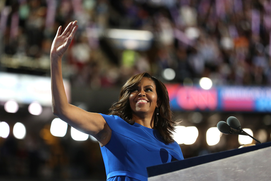 First lady Michelle Obama acknowledges the crowd before delivering her speech during the Democratic National Convention in Philadelphia on Monday. (Joe Raedle/Getty Images)