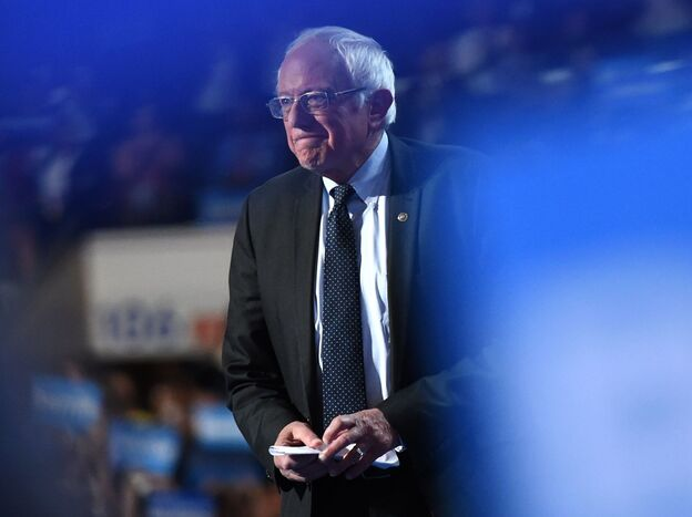 Sen. Bernie Sanders takes the stage on the first evening of the Democratic National Convention in Philadelphia on Monday.