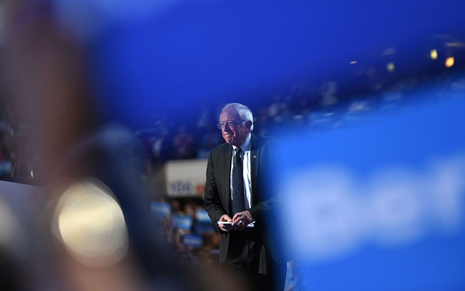 Sen. Bernie Sanders takes the stage on the first evening of the Democratic National Convention in Philadelphia on Monday. (Timothy A. Clary/AFP/Getty Images)