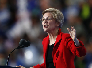 Sen. Elizabeth Warren, D-Mass., speaks during the first day of the Democratic National Convention in Philadelphia on July 25.