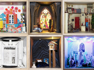 "Top row: The Age of Magic by The Mouse Market, Gothic Bath by Samuel C. Miller III, Apartment 6D by Nix Gerber Studio. Bottom row: White House, White Room by J. Ford Huffman, Reverie of the Stars by Mars Tokyo Designs, My Castle and My Keep by Daisy Tainton. From ""Small Stories: At Home In A Dollhouse"" at the National Building Museum."