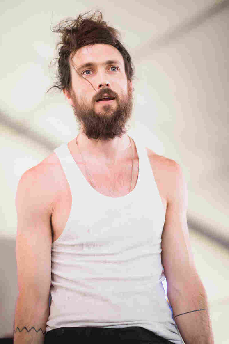 Alex Ebert of Edward Sharpe and the Magnetic Zeros pauses for breath during the band's Sunday evening set.