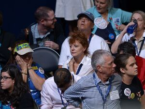 Actress Susan Sarandon sits among delegates Monday night of the Democratic National Convention