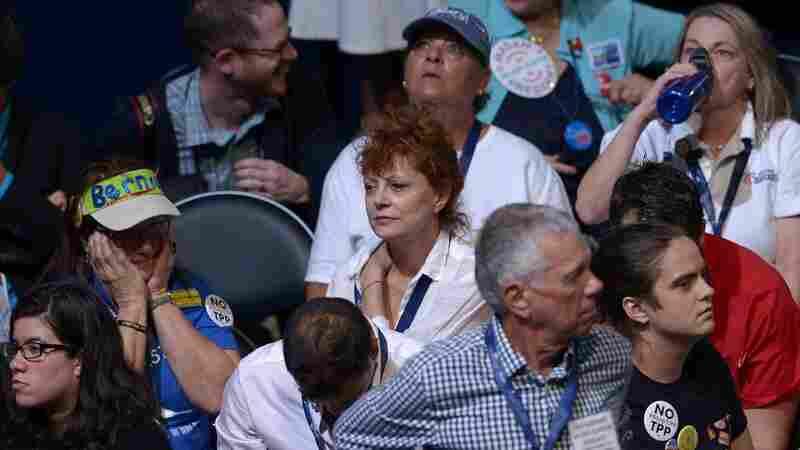 Actress Susan Sarandon sits among delegates Monday night of the Democratic National Convention