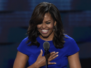 First lady Michelle Obama delivers her speech on the first evening of the Democratic National Convention in Philadelphia.