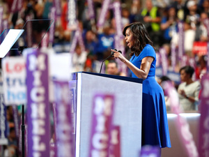 First lady Michelle Obama delivers remarks on the first day of the Democratic National Convention in Philadelphia.