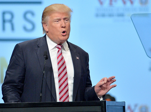 Republican presidential candidate Donald Trump speaks at a convention of the Veterans of Foreign Wars in Charlotte, N.C., on Tuesday.