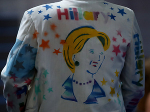 A Hillary Clinton supporter walks the floor prior to the start of the second day of the Democratic National Convention at the Wells Fargo Center in Philadelphia.