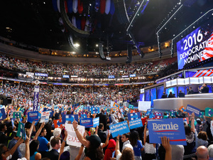 The crowd cheers after formally nominating Democratic presidential candidate Hillary Clinton on the second day of the Democratic National Convention.