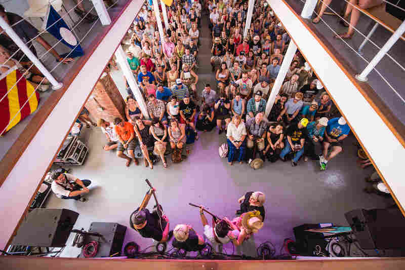 In one of Newport's many surprise collaborations, unannounced artists Lucius and Shovels and Rope played at the tiny Museum Stage with The Decemberists' Chris Funk.