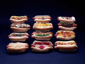 Neal Slavin, Frankfurters in Full Dress, 1978, with the recipe: Neal Slavin: Nylen's Frankfurters in Full Dress.