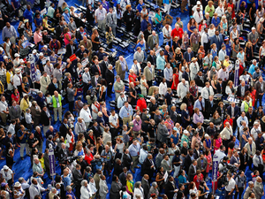 Delegates on the Democratic National Convention floor at the Wells Fargo Center in Philadelphia.