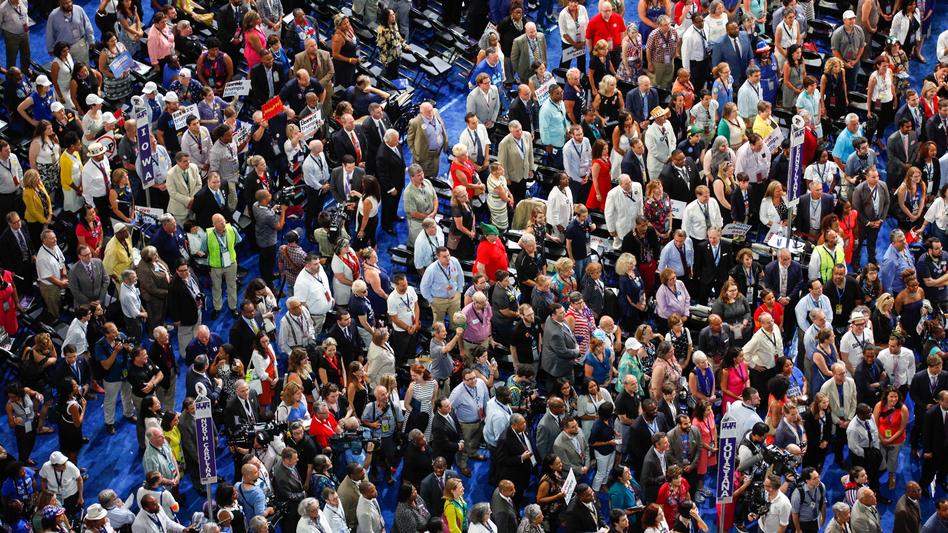 Delegates on the Democratic National Convention floor at the Wells Fargo Center in Philadelphia. (Meg Kelly/NPR)