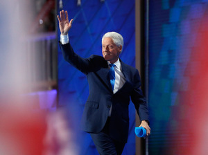Former President Bill Clinton walks off stage after delivering remarks at the Democratic National Convention in Philadelphia on Tuesday.