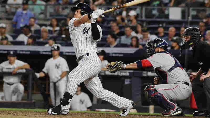 Rob Refsnyder of the New York Yankees bats during the Boston Red Sox vs. New York Yankees regular season MLB game at Yankee Stadium on July 17 in New York City.