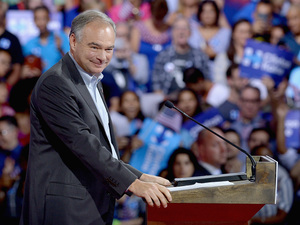 Sen. Tim Kaine spoke Spanish at a rally in Miami earlier this month, where he was announced as Hillary Clinton's vice presidential running mate.