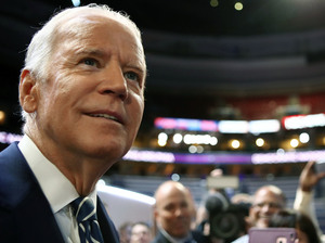 Vice President Joe Biden talks to students from Eagle Academy for Young Men during a walk at the Democratic National Convention on Tuesday. He will speak Wednesday night.