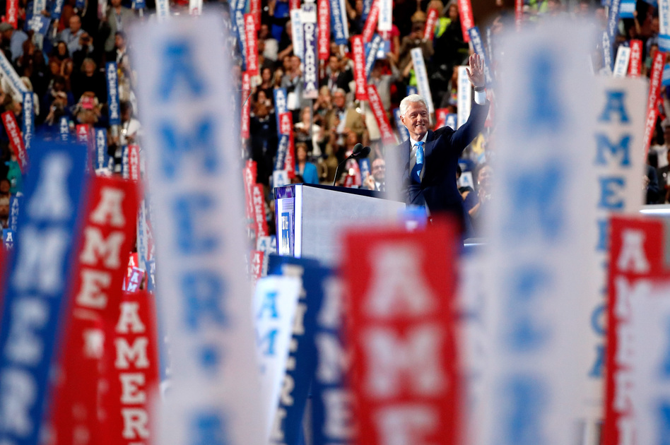 Former President Bill Clinton started his speech at the Democratic convention on Tuesday night by going back to the day he first met Hillary Clinton. (Aaron P. Bernstein/Getty Images)