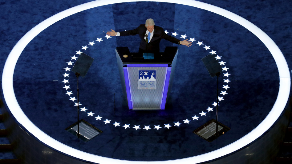 Former President Clinton defended Hillary Clinton's career during his speech at the Democratic National Convention on Tuesday, the night she formally became the party's presidential nominee. (Chip Somodevilla/Getty Images)