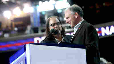 Democratic vice presidential nominee Tim Kaine does a walk on the Democratic National Convention stage ahead of his prime time speech on Wednesday night.