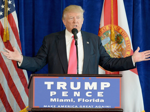 Republican presidential candidate Donald Trump holds a press conference at Trump National Doral on Wednesday in Doral, Florida.