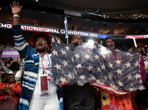 Attendees cheer during the third day of the Democratic National Convention at the Wells Fargo Center on Wednesday.