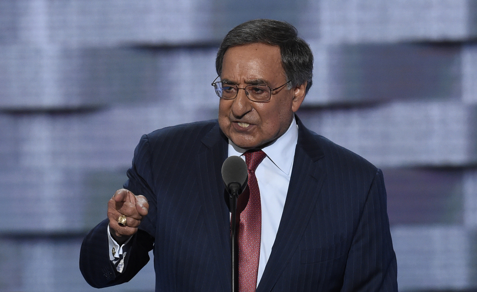 Former Secretary of Defense Leon Panetta speaks during the third evening session of the Democratic National Convention. (Saul Loeb/AFP/Getty Images)