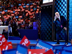 Vice President Joe Biden interacts with the crowd as he arrives on stage to deliver remarks on the third day of the Democratic National Convention.
