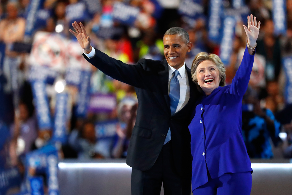Hillary Clinton joins President Obama onstage after he delivers his speech at the Democratic National Convention on Wednesday. (Aaron P. Bernstein/Getty Images)
